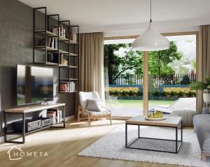 Nowoczesny salon z elementami modern loft